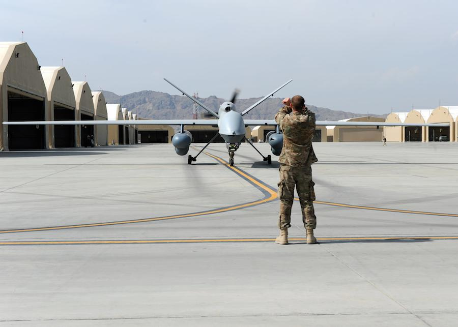 An-MQ-9-Reaper-on-the-runway-prior-to launch-at-Kandahar-Airfield-Afghanistan jpg